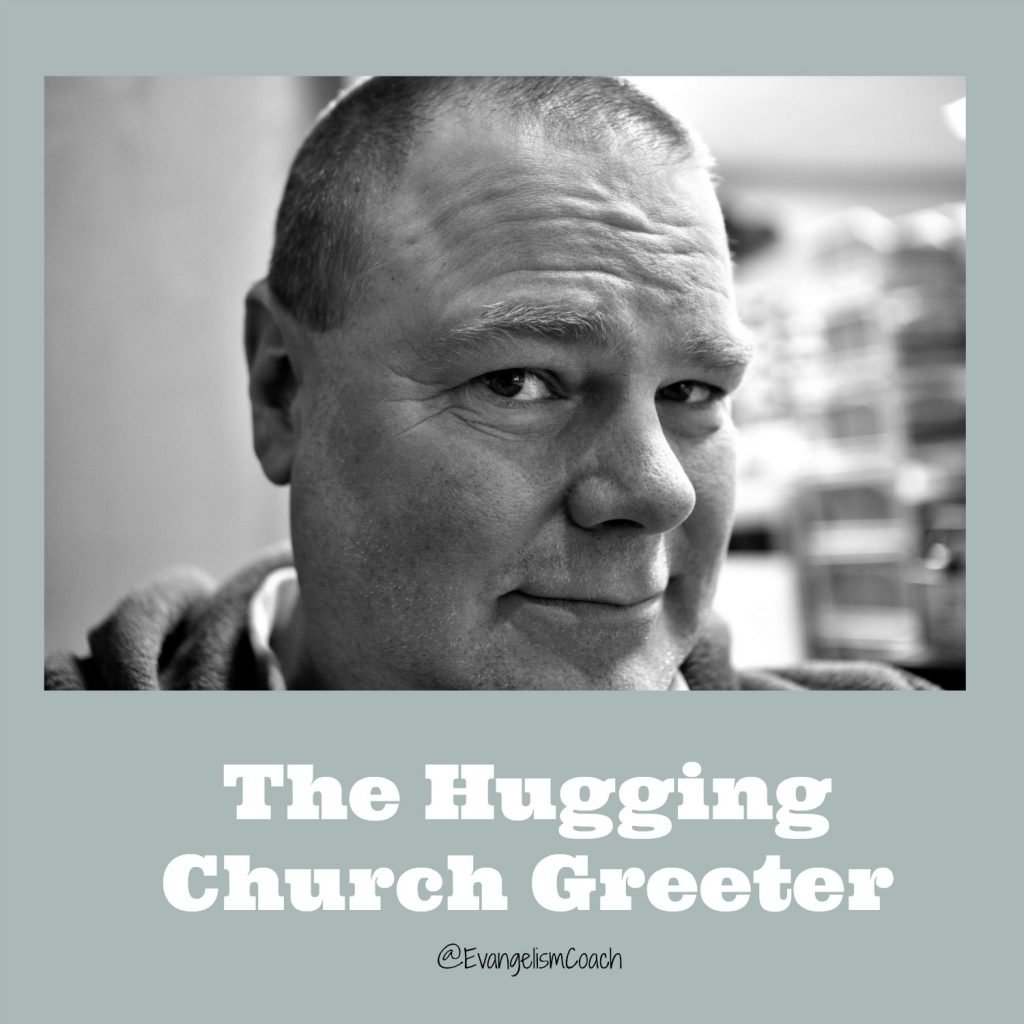 A church greeter that gives hugs to strangers may leave a wrong first impression